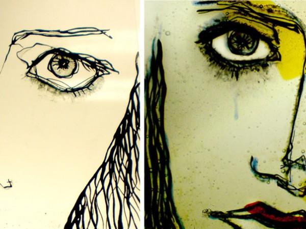 Retrato dibujado con vidrio de colores
