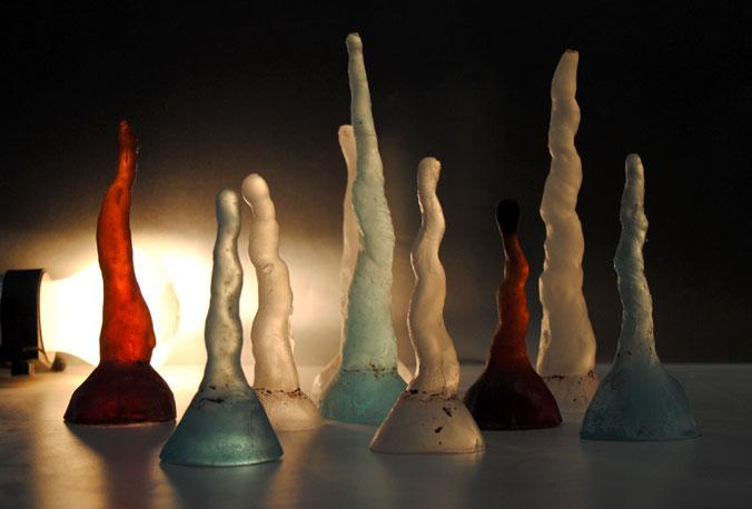 estalactitas vidrio colores