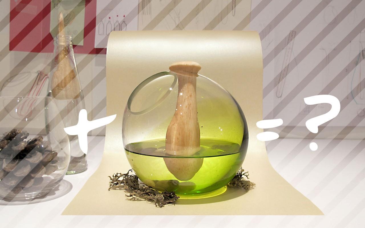Ambientador de vidrio soplado y madera