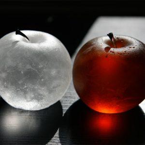 manzanas-blanca-roja vidrio